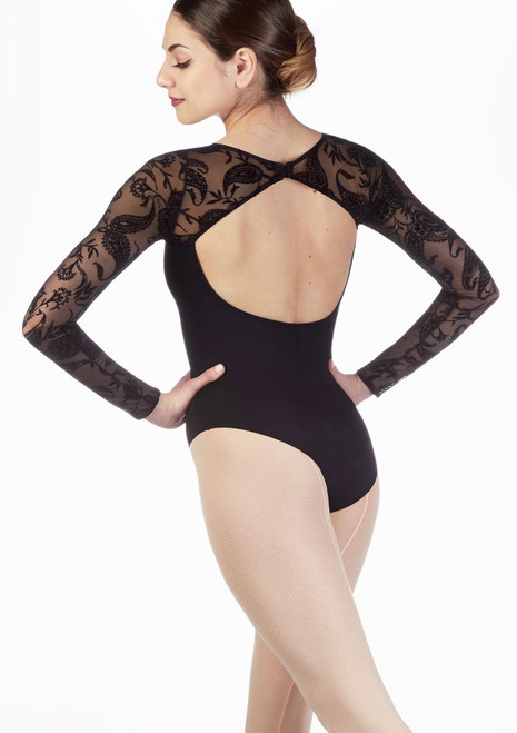 Intermezzo Flock Long Sleeve Leotard Black back. [Black]