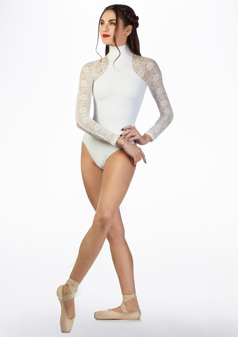 Basilica Lace Turtleneck Leotard White front. [White]