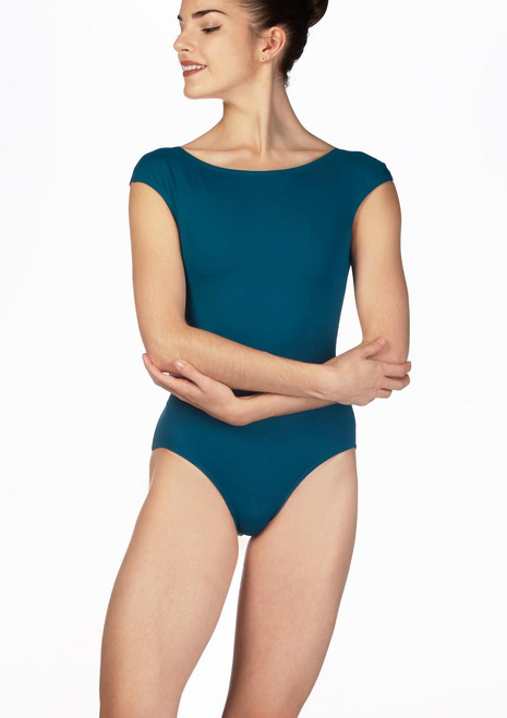 Intermezzo Cap Sleeve Backless Leotard Blue front. [Blue]