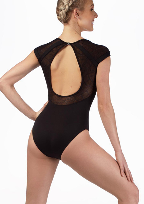 Mirella Mosaic Open Back Leotard* Black front. [Black]