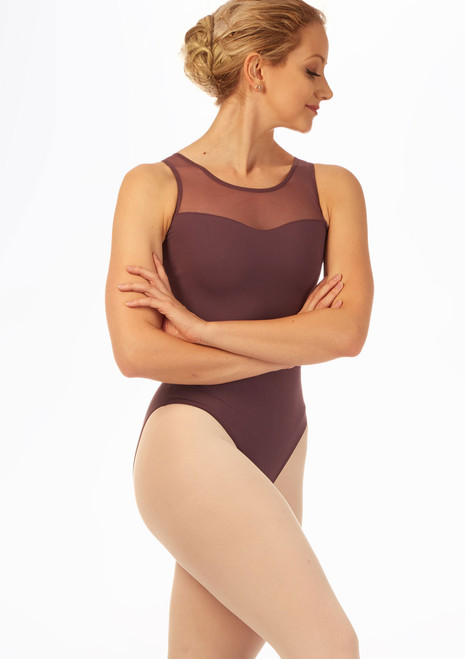 Intermezzo Henna Lace Back Leotard Purple front. [Purple]