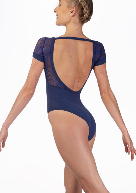 Mirella Juliet Lace Scoop Back Leotard* Black front. [Black]