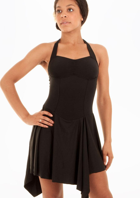 Mirella Asymetrical Hem Princess Seam Halter Dress Black. [Black]