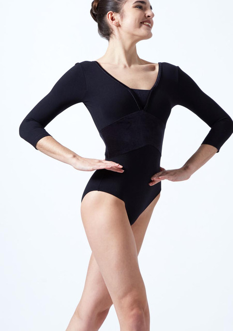 Intermezzo 3/4 Sleeve Velour Leotard Black front. [Black]
