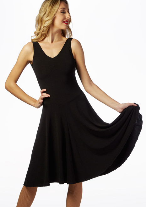 Intermezzo Tank Leotard Ballroom Dress Black front. [Black]