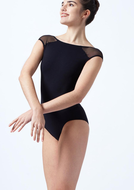 Intermezzo Cap Sleeve Open Back Leotard Black front. [Black]