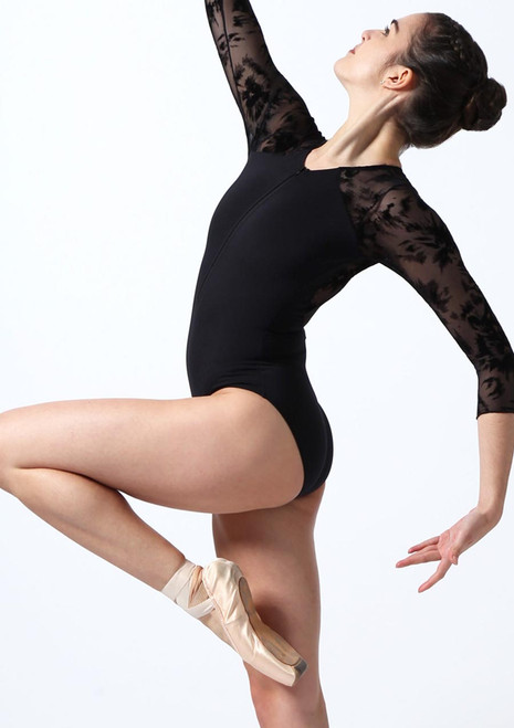 Intermezzo Zip Front Flock Mesh Leotard Black front. [Black]