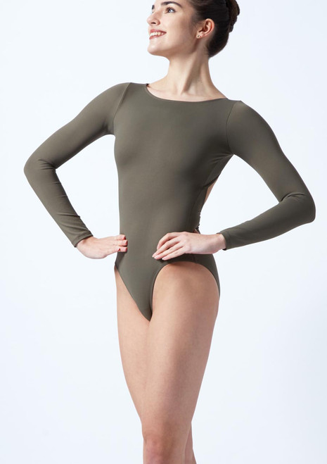 Intermezzo Long Sleeve Open Back Leotard Black front. [Black]