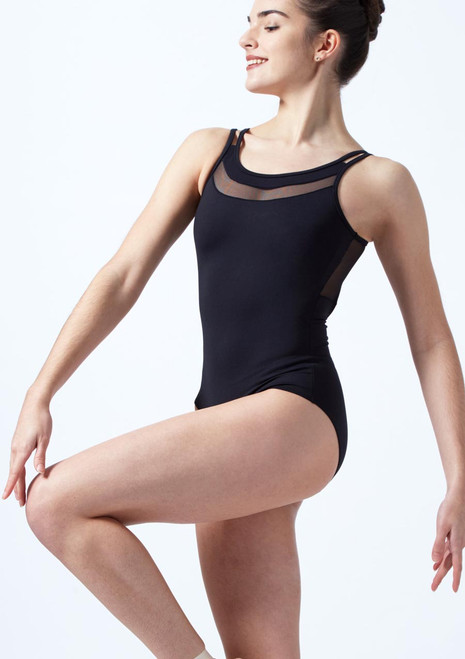 Intermezzo Double Strap Mesh Leotard Black front. [Black]