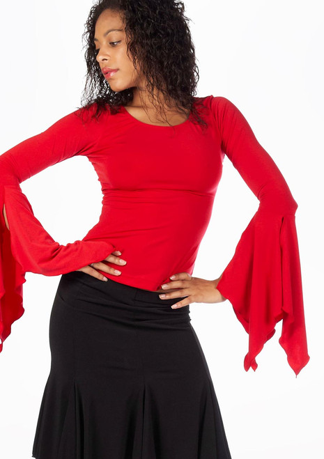 Capezio Long Ruffle Sleeve Top Red. [Red]