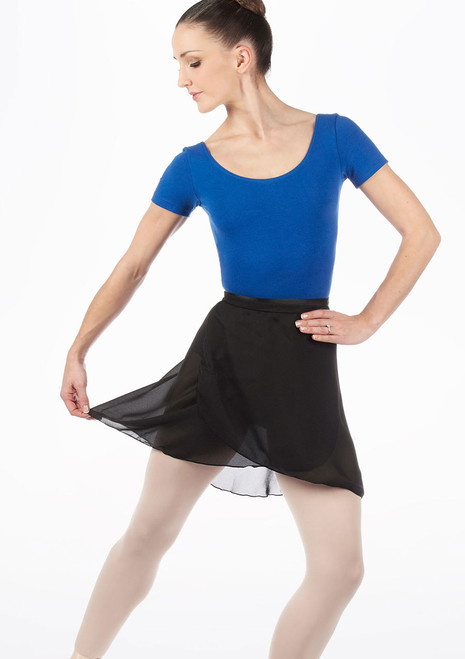 Capezio Long Georgette Wrap Skirt Black. [Black]