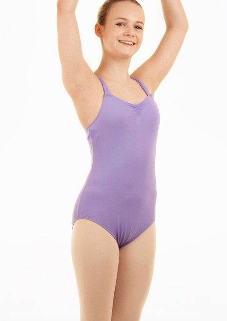 Mirella Teen Rouched Strap Leotard Purple front.