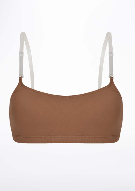 Capezio Camisole Bra with BraTek Brown front. [Brown]