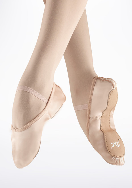 Move Full Sole Satin Ballet Shoe Pink. [Pink]
