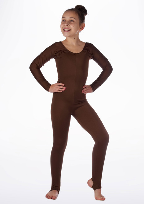 Alegra Girls Shiny Blaine Catsuit Brown front. [Brown]