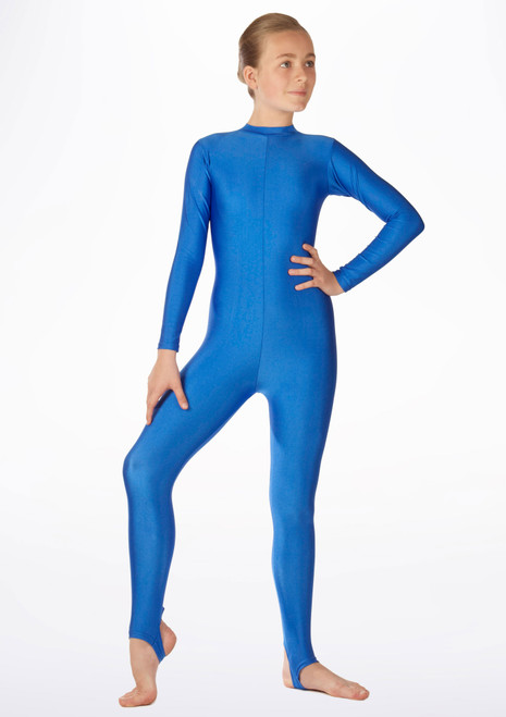 Alegra Girls Shiny Aspen Catsuit Blue front. [Blue]