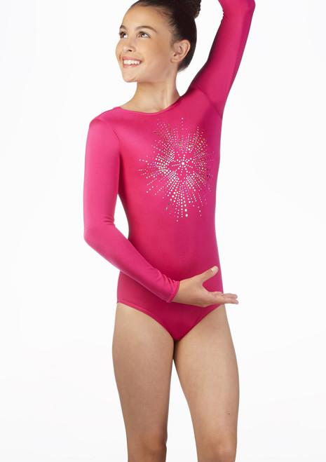 Alegra Girls Starburst Long Sleeve Gymnastics Leotard Pink front. [Pink]