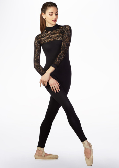 Basilica Lace Long Sleeve Catsuit Black front. [Black]