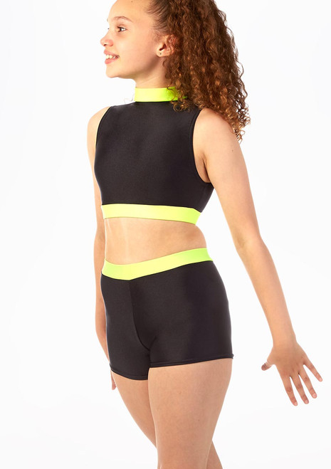 Alegra Fuse Girls Sleeveless Crop Top Black-Yellow front. [Black-Yellow]