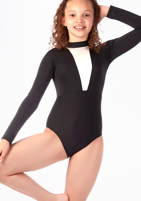 Alegra Fuse Girls Long Sleeve Leotard Silver front. [Silver]