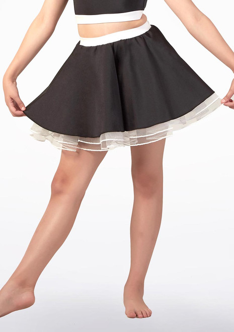 Alegra Fuse Girls Netted Skirt Black-White front. [Black-White]
