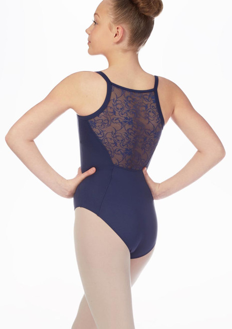 Mirella Teen Juliet Lace Back Leotard* Blue front. [Blue]