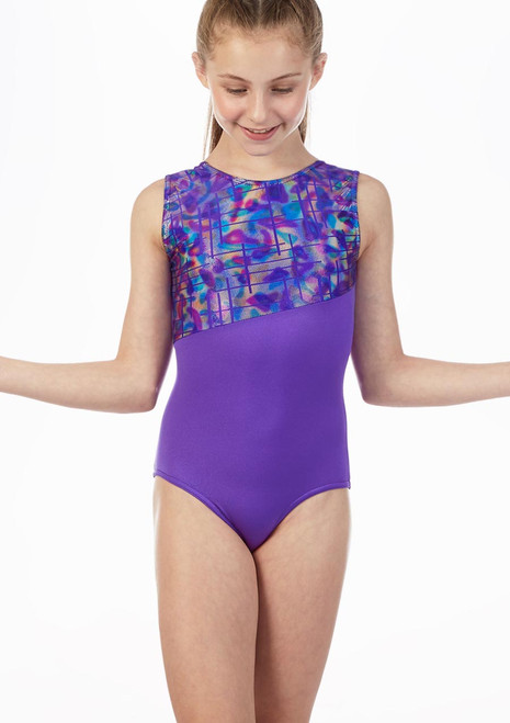 Alegra Rave Sleeveless Gymnastics Leotard Purple front. [Purple]