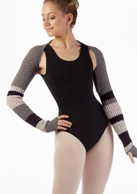 Intermezzo Striped Long Sleeve Warm Up Shrug Pink front. [Pink]
