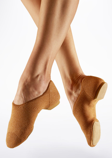 Capezio Pure Knit Split Sole Jazz Shoe Nude Tan main image. [Tan]