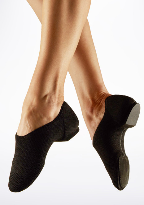 Capezio Pure Knit Split Sole Jazz Shoe Black main image. [Black]