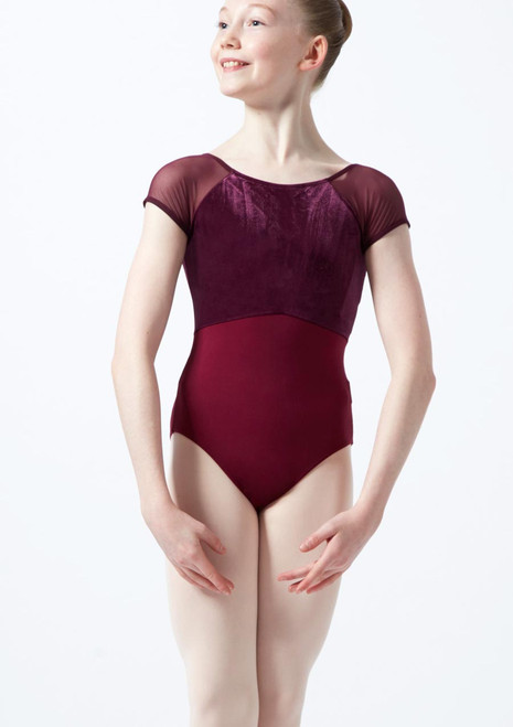 Intermezzo Teen Cap Sleeve Velour Leotard Purple front. [Purple]