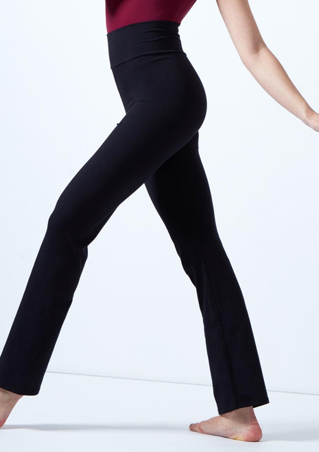 Intermezzo High Waist Straight Leg Dance Pants Black front. [Black]