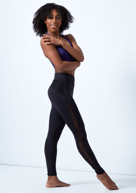 Capezio Cross Front Leggings Black front. [Black]