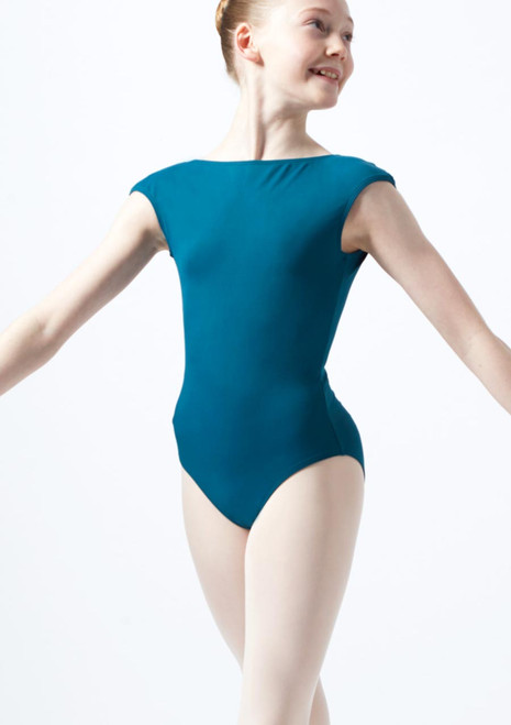 Intermezzo Teen Cap Sleeve Leotard Blue front. [Blue]