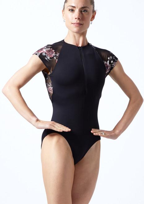 Move Dance Isadora Floral Zip Up Leotard Black Front-1T [Black]