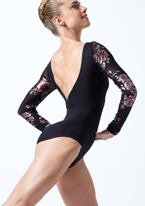 Move Dance Rachel Floral Long Sleeve Leotard Black Back-1T [Black]