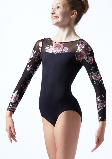 Move Dance Teen Rachel Floral Long Sleeve Leotard Black Front-2T [Black]