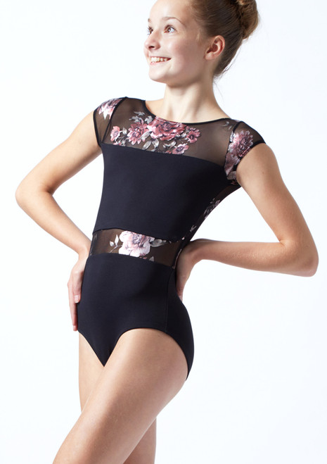 Move Dance Teen Dynamic Floral Cap Sleeve Leotard Black Front-1T [Black]