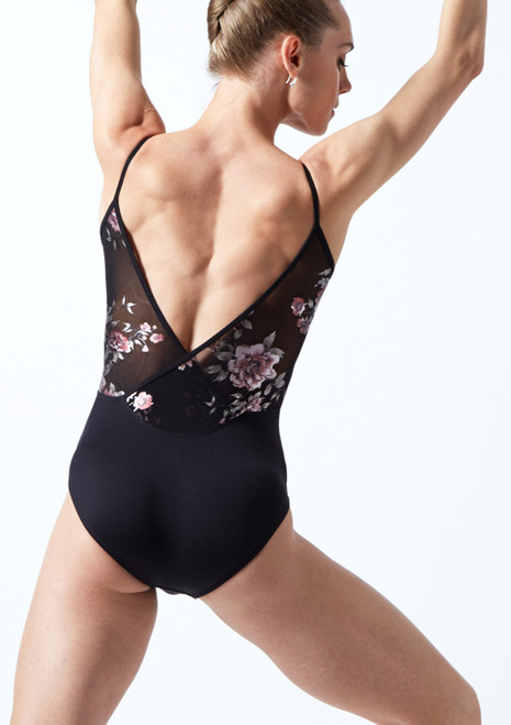Move Dance Furneaux Floral Wrap Camisole Leotard Black Back-1T [Black]