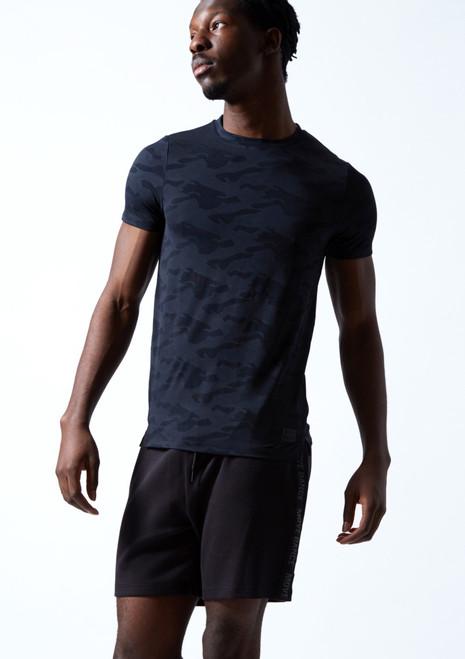Move Dance Men's Rhythm Dance T Shirt Navy Blue Front-1T [Navy Blue]