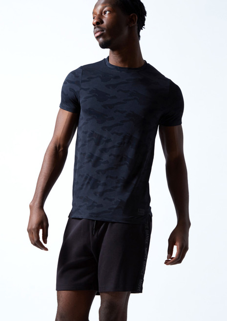 Move Dance Men's Rhythm Dance T Shirt Navy Blue Front-1T [Navy Blue]