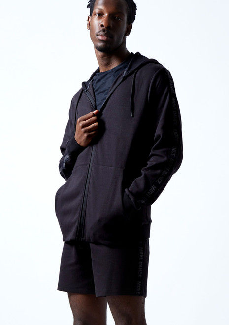 Move Dance Men's Pulse Zip Up Hoodie Black Front-2T [Black]