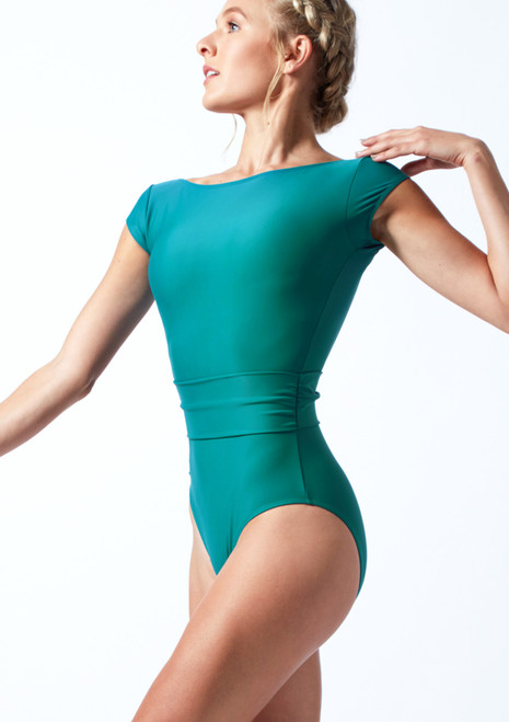 Move Dance Lilliana Belted Leotard Teal Front-1T [Teal]