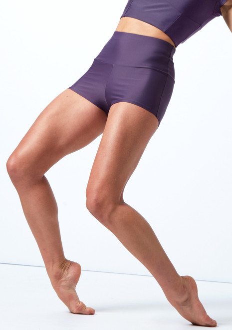 Move Dance Maya High Waisted Dance Shorts Grape Front-1T [Grape]
