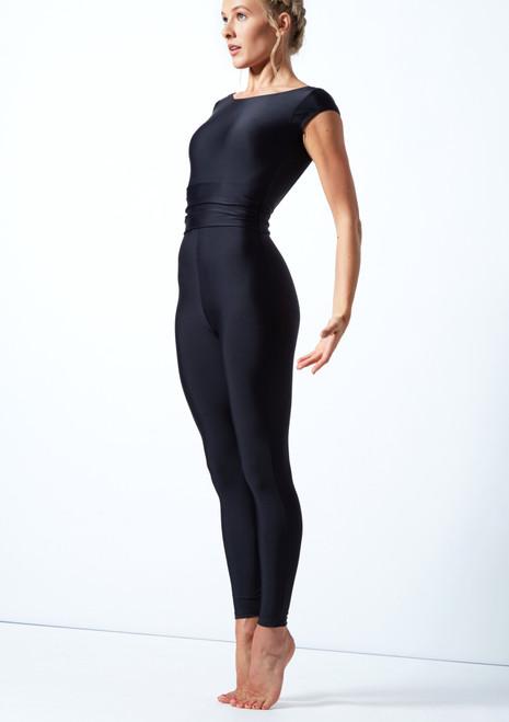 Move Dance Francesca Open Back Belted Catsuit Black Front-1T [Black]