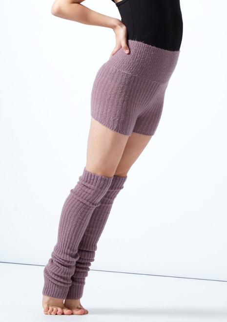 Pantalones cortos de danza con cinturón tejido enrollable Isabella para adolescentes Move Dance Purple Front-1T [Purple]