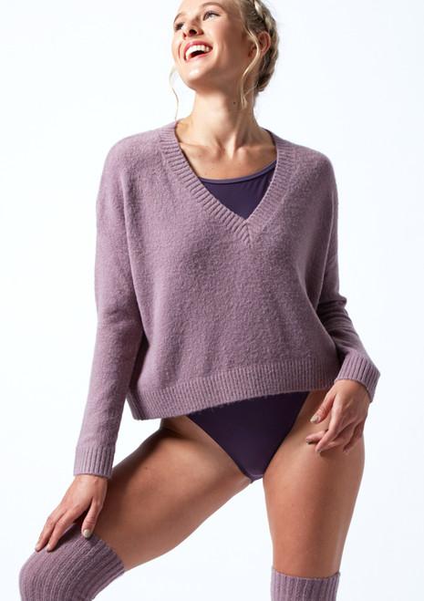 Suéter de danza de punto con cuello en V Madeline Move Dance Purple Front-1T [Purple]