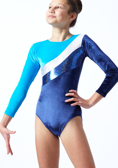 Tappers & Pointers Cosmic Long Sleeved Gymnastics Leotard Navy Front-1T [Navy]