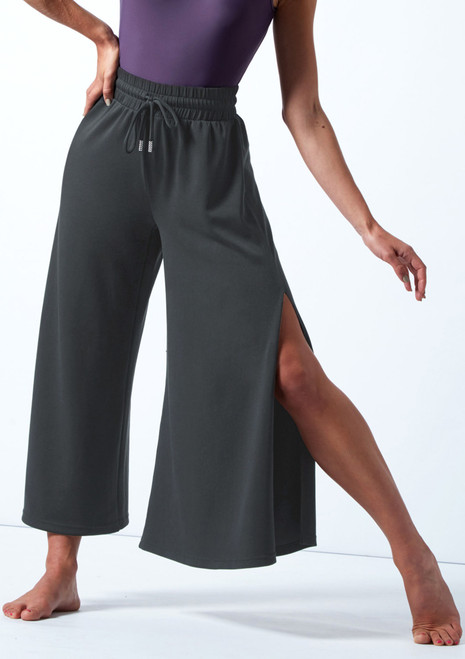 Move Dance Elena Wide Leg Cropped Jersey Pants Charcoal Front-1T [Charcoal]