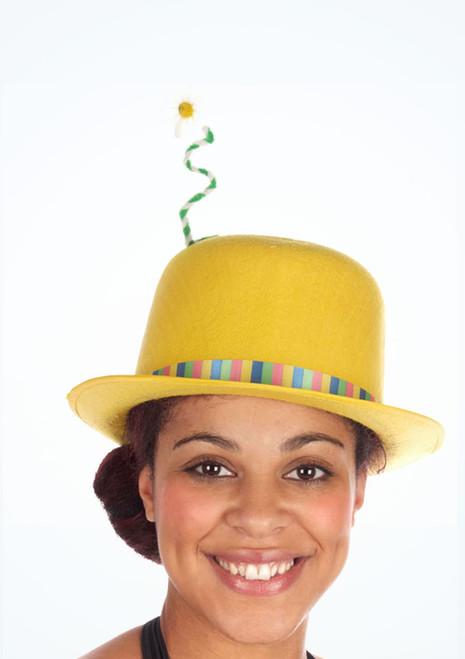 Flower Clown Bowler Hat Yellow. [Yellow]